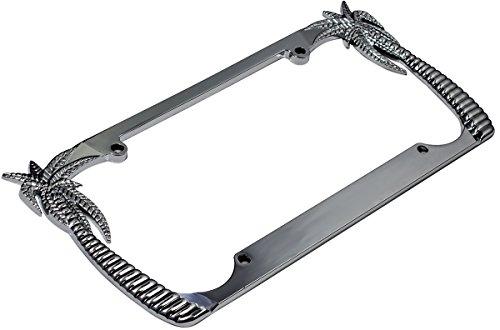 OxGord Stainless Steel License Plate Frame - Universal Tag Frame Holder, Coconut Palm Trees Chrome Metal