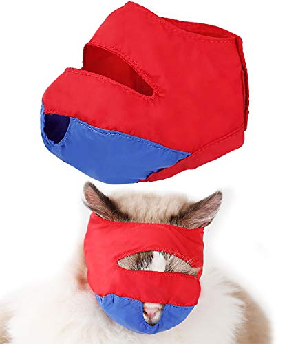 BEXU Cat Muzzles - Nylon Breathable Cat Face Mask - Adjustable Anti-bite mesh for Breathable Comfort - Cleansing and Bathing