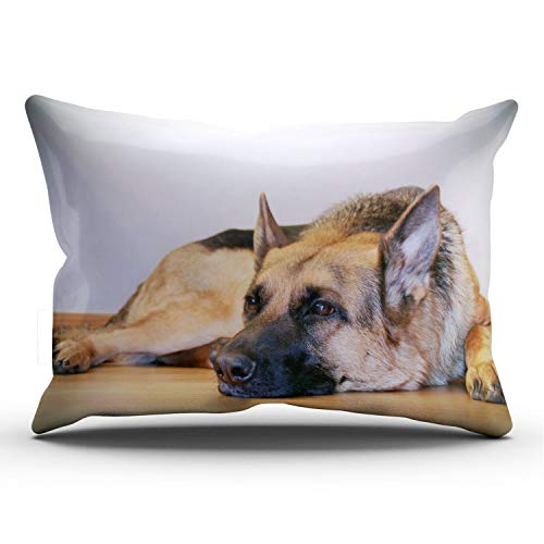 ANLIPU Personalized Decorative Pillowcases Cute Pet Doggy German Shepherd Dog Throw Pillow Covers Cases Rectangular King Size 20x36 Inches Print on One Side
