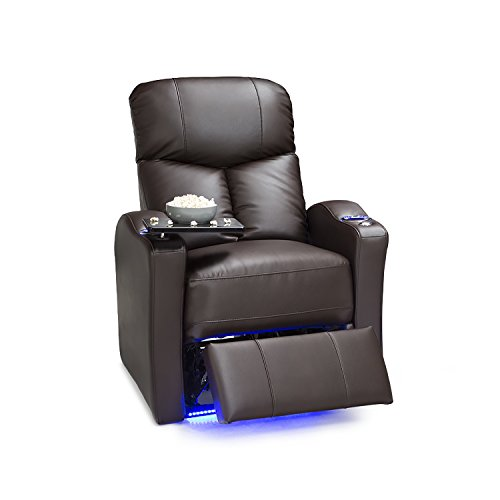 Seatcraft Raleigh Leather Gel Power Home Theater Recliner with Space Saver Armrests and USB Charging, ()