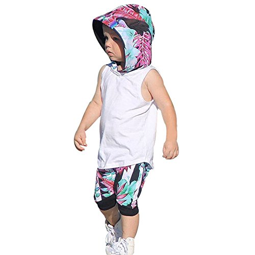 (Xturfuo Toddler Kids Baby Boy Hooded Vest Tops+Shorts Pants 2pcs Outfits Clothes Set)