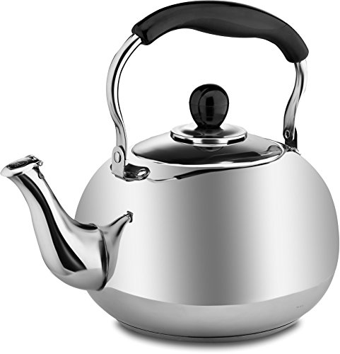Whistling Tea Pot 2 Quart for Stove Top in Quality Classic Polished Stainless Steel