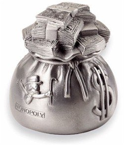 Official Monopoly New Token From 1999 - Sack of Money - silver playing piece