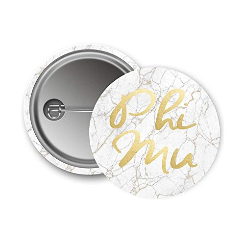 Phi Mu Sorority Button Light Marble with Gold Script Pin Back Badge 2.25-inch Button