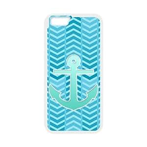 "HOPPYS Cover Shell Phone Case Blue Chevron Anchor For iPhone 6 Plus (5.5"")"