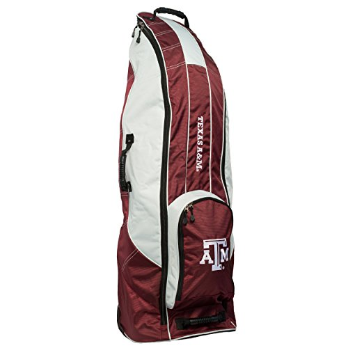 Team Golf NCAA Texas A&M Aggies Travel Golf Bag, High-Impact Plastic Wheelbase, Smooth & Quite Transport, Includes Built-in Shoe Bag, Internal Padding, ID Card Holder ()