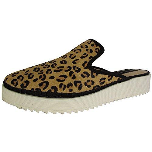 Steven Door Steve Gekke Dames Bardot Slip Op Mule Klomp Schoenen Leopard