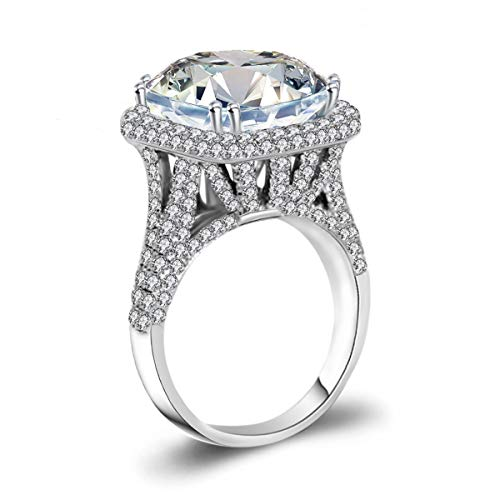 - LSOOYH Platinum Plated Rectangle Cluster Engagement with Architecture Cubic Zirconia Ring for Women Love Bridal Fashion Jewelry (Size 7 8 9 10) (10)