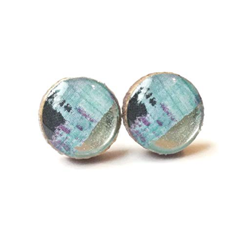 Blue, purple and black watercolor inspired wooden stud earrings with metallic silver stripe, 10mm