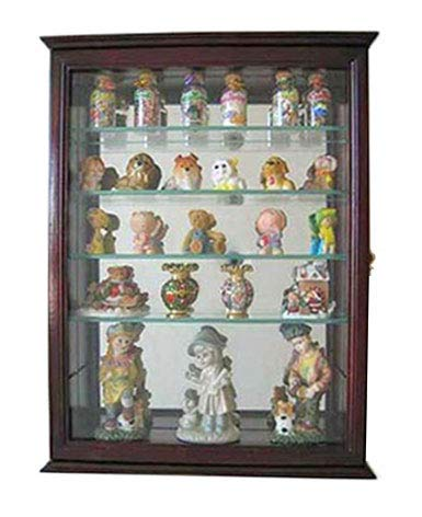 DisplayGifts Small Wall Mountable Curio Cabinet Shadow Box, with Glass Door, Mirrored Back, CD06 (Cherry)