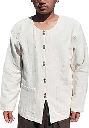 RaanPahMuang Rough Fibre Mens Shirt Long Sleeve with Tatton Dragon Print, Medium, Cream