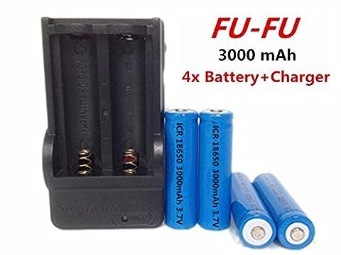 FU-FU 4 pcs 18650 3.7V 3000mAh Lithium Rechargeable Blue Batteries +Dual Charger (Mods Vape Charger)