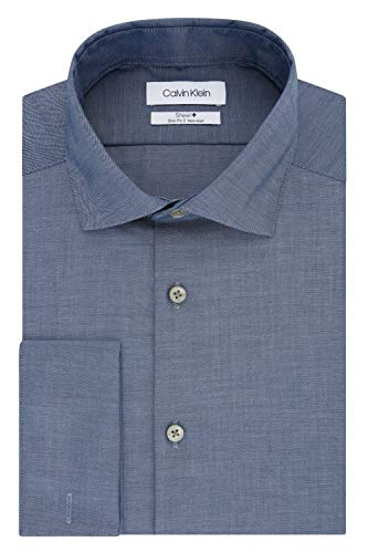 (Calvin Klein Men's Non Iron Slim Fit French Cuff Dress Shirt, Navy, 15.5
