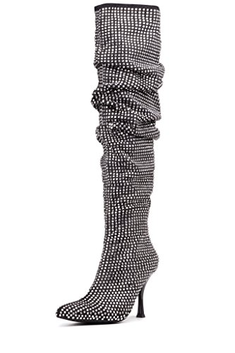 Jeffrey Campbell Womens DIE4U Boot Black Suede Silver As2h9StIi