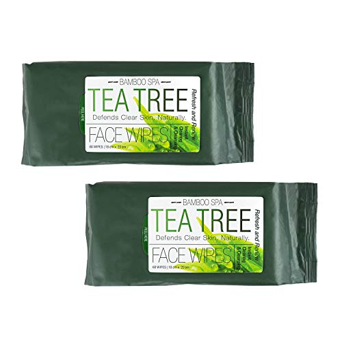 Bamboo Spa - 2 Pack (60 Count Each) Tea Tree Makeup Wipes (Towelettes Desert Essence)