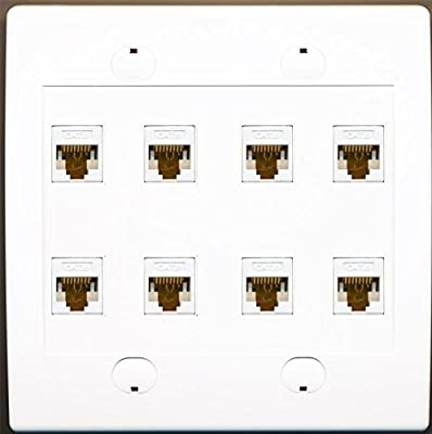 RiteAV 8 Port Flat White Dual 2 Gang Ethernet Cat6 RJ45 Network Wall Plate -
