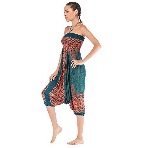 Harem Pants Women's Hippie Bohemian Yoga Pants One Size Aladdin Harem Hippie Pants Jumpsuit Smocked Waist 2 in 1 (Free, Green) by BingYELH Yoga (Image #2)