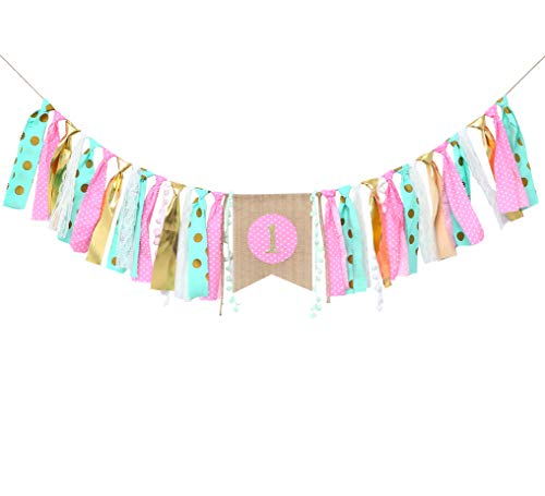 WAOUH HighChair Banner for 1st Birthday - First Birthday Decorations for Photo Booth Props, Birthday Souvenir and Gifts for Kids, Best Party Supplies (Mint Pink Gold 1ST Birthday)