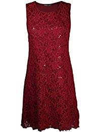 Chocolate Pickle Womens Floral Lace Lined Sparkly Flare Sequin Top