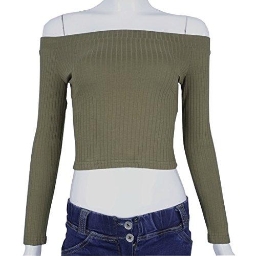 Weigou Woman T Shirt Cold Shoulder Long Sleeve Slash Neck Juniors Tops Short Design Lady Crop Top  M  Green