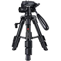Tairoad T-111 Lightweight Mini Tabletop Tripod Stand with 3 Way Pan Tilt Head and Flip Lock Compatible with Compact System Cameras Smartphone Projector - Black