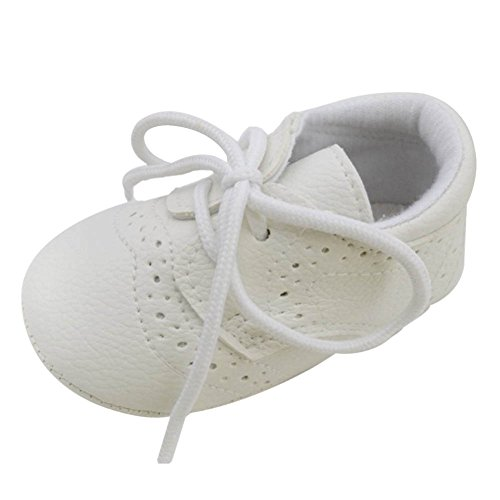 Xiangze Nino bebe ninos ninas PU cuero suave cuna de zapatos Blanco