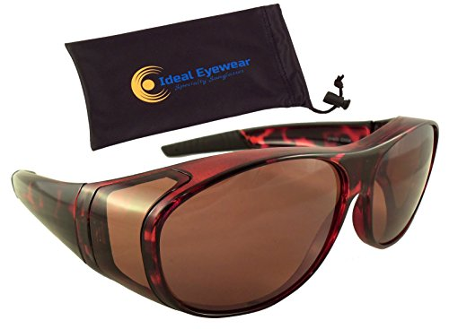 Sun Shield Blue Blocking Fit Over Sunglasses by Ideal Eyewear - HD Copper Lenses - Wear Over Glasses - Wrap Around - Great for Fishing, Boating, Golf, & Driving (Brown - Around Glasses Wrap Frames
