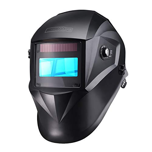 TACKLIFE Welding Helmet Solar Power Auto Darkening, Full Shade Range 3/4-8/9-13, UV/IR Protection DIN 16, 6Pcs Replacement Lenses, Protecting Bag, Grinding Feature for TIG MIG MMA Plasma - PAH04D