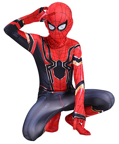 RONGANDHE Kids Spider Superhero Bodysuit Halloween Cosplay Costumes Zentai Tights Iron Spider 100-110cm(39.4-43.3inch)]()