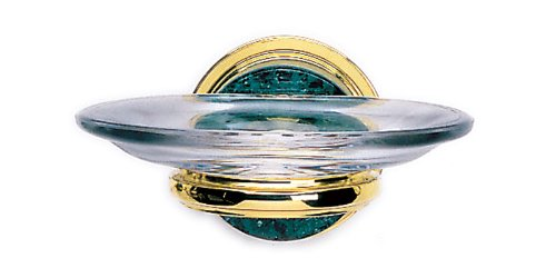- Phylrich KNF25_24D Satin Gold Antiqued Carrara Green Marble Wall Mounted Soap Dish from the Carrara