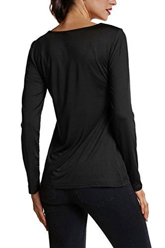 Manga larga con cuello en v sastre de la mujer cabido blusa Casual Black
