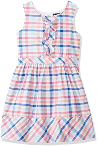 Nautica Little Girl's Short Sleeve Fashion Dress, Bright Plaid Pink, 6 ()