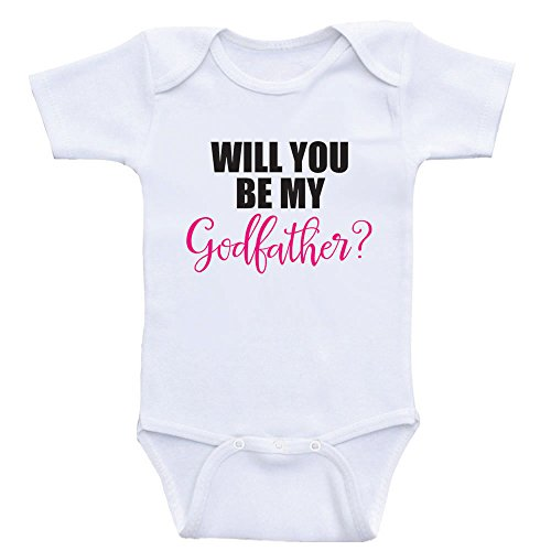 Heart Co Designs Godparent Baby Onesies Will You Be My Godfather One Piece Baby Clothes (3mo-Short Sleeve, Hot Pink Text)]()