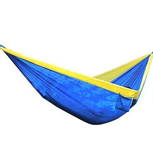 (Outdoor King Size Camping Hammock Large 2 Person Parachute Double Portable Couple Nylon Hamak Travel Hunting Survival Blue Yellow)
