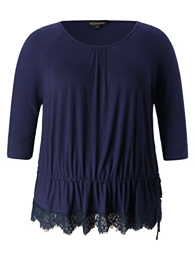 Chicwe Women's Plus Size Stretch Lace Trimmed Top Tunic - Viscose Jersey with Pleated Neck and Hem Drawstring Navy 4X