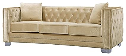 Meridian Furniture 648BE S Reese Button Tufted Velvet Upholstered Sofa With  Square Arms, Silver
