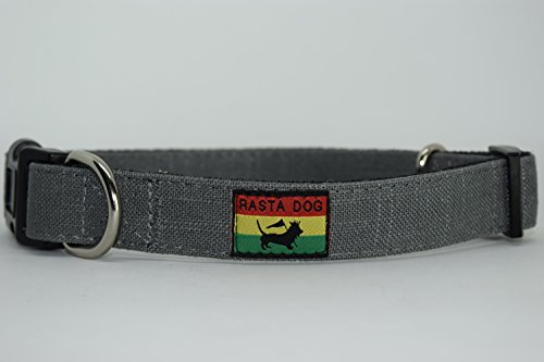 RASTA DOG Adjustable Dog Collar available in multiple sizes and colors Eco-Friendly Bamboo with fleece lining Grey with Black Fleece lining (Small 10-16 in. long by 3/4 in. - Bamboo Collar