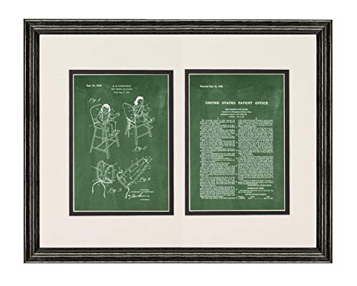 Baby Highchair Patent Art Green Chalkboard Print in a Black Wood Frame with a Double Mat (20