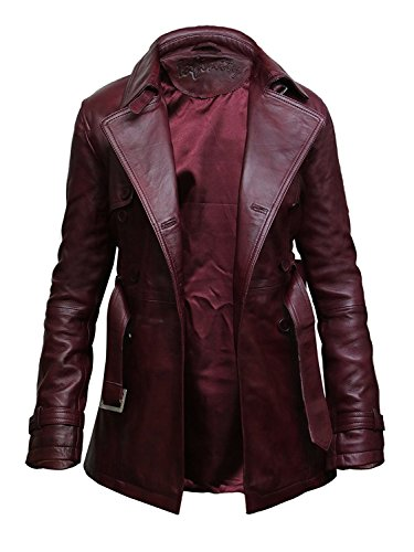 (Womens Leather Jacket Long Real Lamb Skin Coat Vintage Retro Design (Large 12) Burgundy)