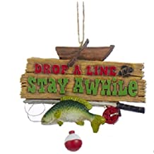 "3.5"" Decorative Fishing ""Drop A line"" Hanging Christmas Ornament"