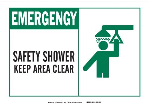 Legend Safety Shower Keep Area Clear with Picto Brady 46761 Aluminum Alert Sign 10 X 14