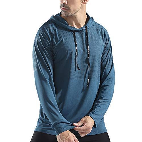 (Gerlobal Mens Gym Workout Active Muscle Bodybuilding Long Sleeve Hoodies Casual Hooded Sweatshirts Peacock)