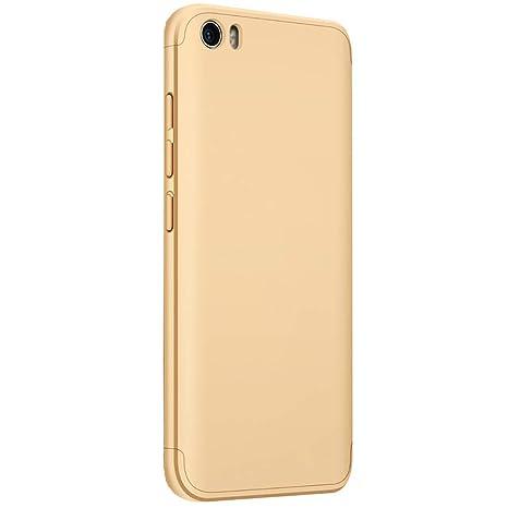 CLTPY Funda para Xiaomi Mi5, [High Pro Shield] Xiaomi Mi5 Carcasa [3 en 1] Desmontable Ultra-Delgado Oro Cubierta Trasera de Plástico Duro y Marco ...