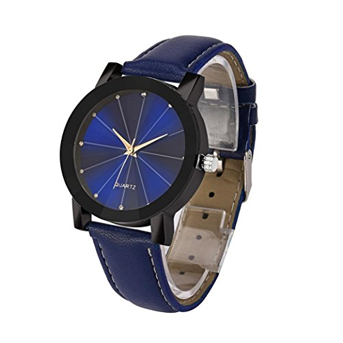 Han Shi Mens Watch, Luxury Stainless Steel Quartz Dial Sport Military Leather Wristwatch (Blue, L) (Jewelry Blue Dial)