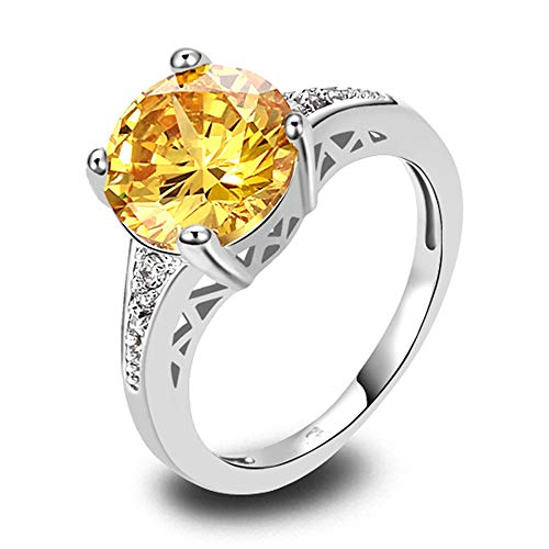 PAKULA Silver Plated Women Simulated Citrine Solitaire Cocktail Ring Size 7