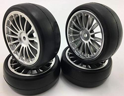 (Part & Accessories 4PCS 1/10 Rubber Tire RC Racing Car Tires OnRoad Wheel Rim touring Drift EP Nitro Fit For HPI kyosho tamiya redcat fs racing - (Color: QTY 4PCS))