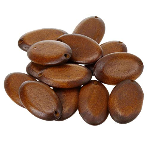 COTOWIN Flat Oval Wood Beads,Pack of 16 (Dark Brown)