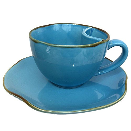AllAsta Tea Cup Saucer Set for One Rustic Pottery Turquoise