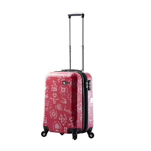 Mia Toro M1089-20in-red Love This Life-Medallions Hardside Spinner Luggage 20
