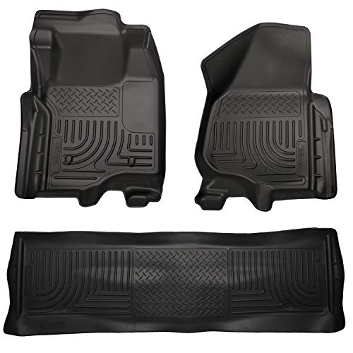Husky Liners Fits 2011-12 Ford F-250/F-350 Crew Cab Weatherbeater Front & 2nd Seat Floor Mats (Footwell Coverage)